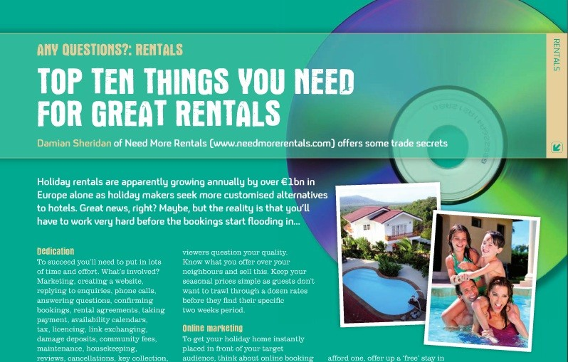 Need More Rentals editorial in A Place In The Sun Magazine