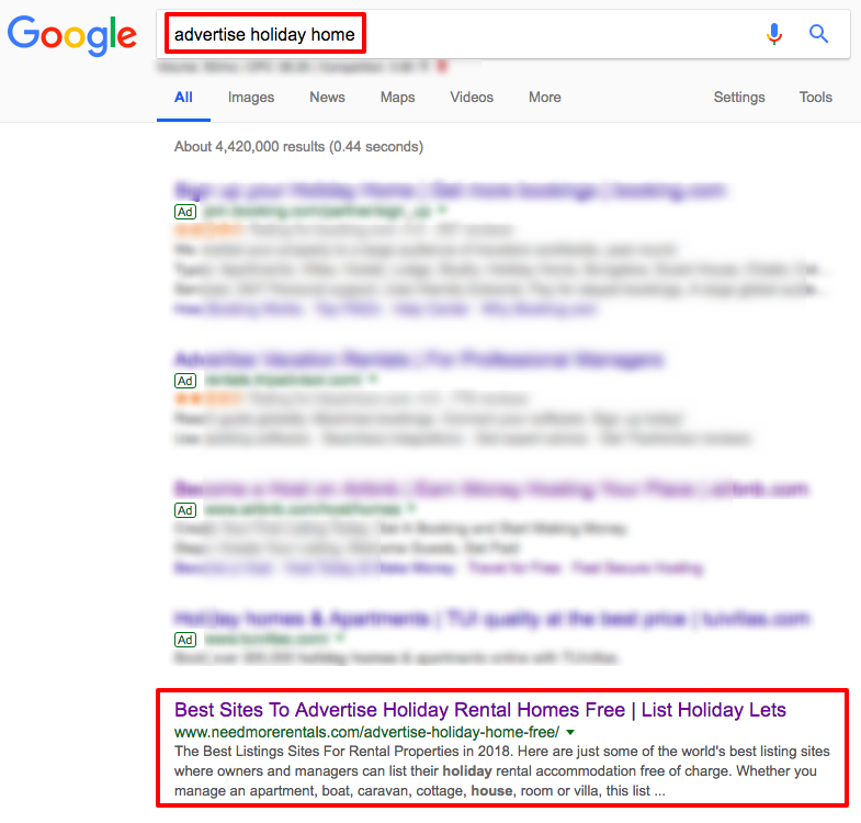 Ranking at the top of Google for host advertising